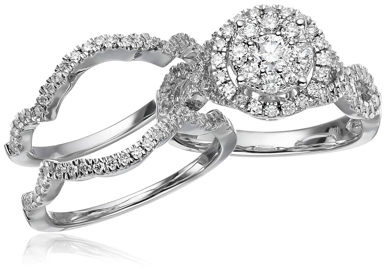 amazoncom 14k white gold diamond 3 piece wedding ring set 1 14 cttw h i color i1 i2 clarity size 7 jewelry - 3 Piece Wedding Ring Set