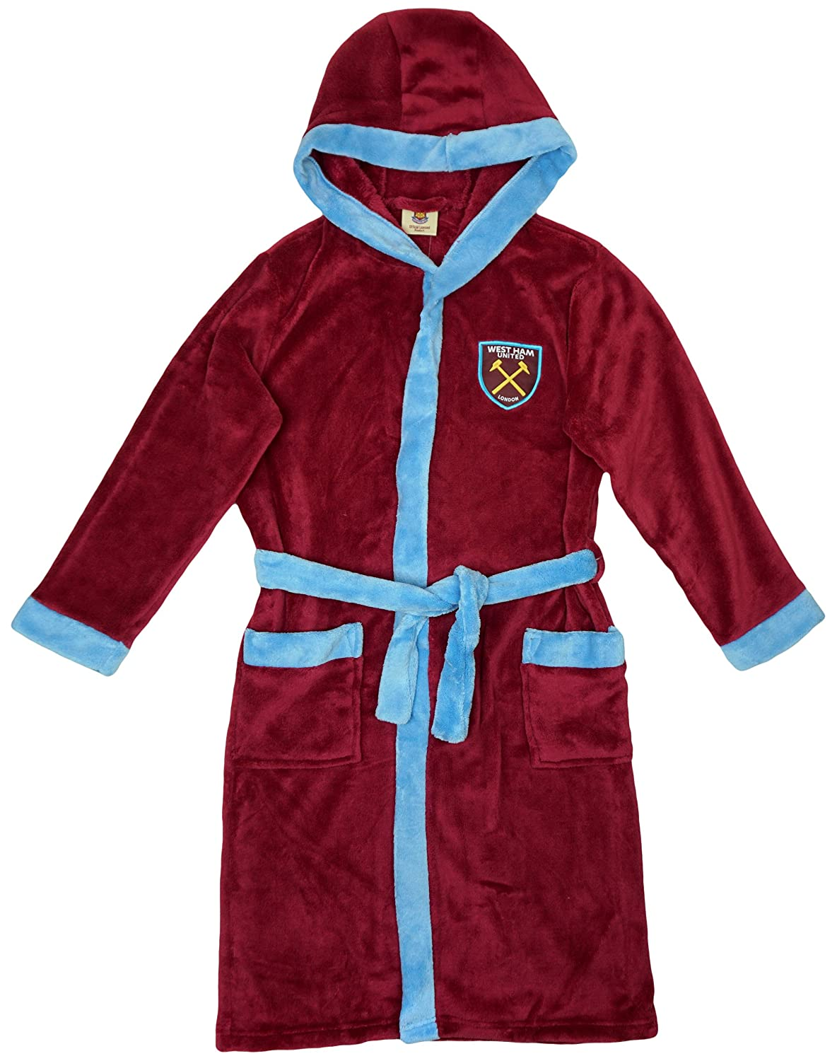 Boys WEST HAM United FC Football Fleece Hooded Dressing Gown Sizes from 3 to 10 Years