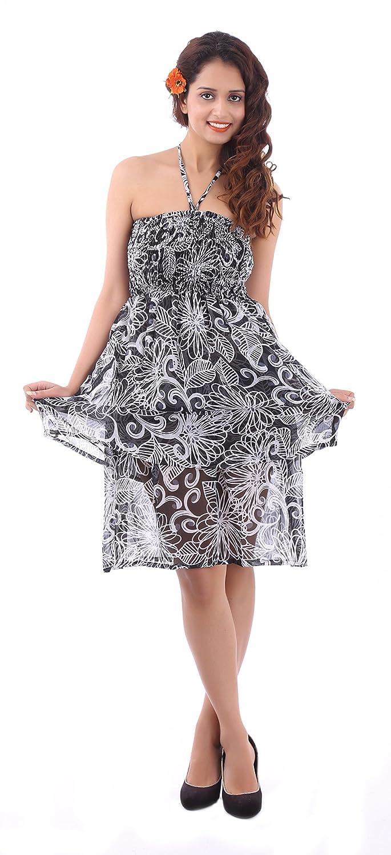 2929eeb439 Sunrose Black N White Allover Printed Short tube dress at Amazon Women s  Clothing store