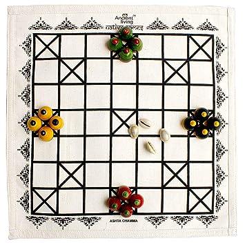 Ancient Living Ashta Chamma / Chowka Bara / Katta Mane / Ludo Board Game