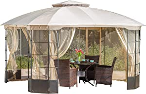 Christopher Knight Home 294927 Somerset Outdoor Steel Gazebo Canopy w/Tan Cover, Multicolor