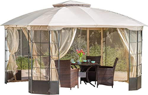 Christopher Knight Home 294927 Somerset Outdoor Steel Gazebo Canopy w Tan Cover