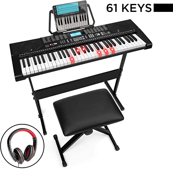 Best Choice Products 61-Key Beginners Complete Electronic Keyboard Piano Set w/LCD Screen