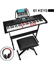 $114 » Best Choice Products 61-Key Beginners Complete Electronic Keyboard Piano Set w/Lighted Keys, LCD Screen, Headphones, Stand, Bench, Teaching Modes, Note Stickers, Built-In Speakers