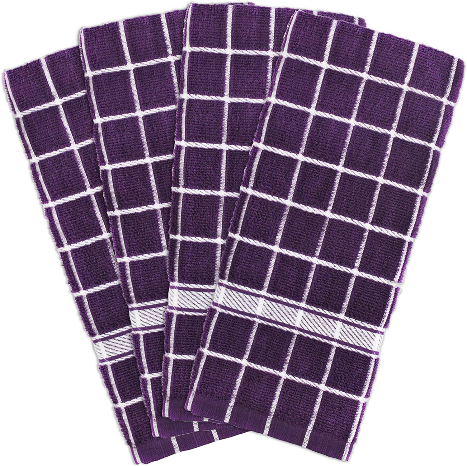 """DII Cotton Terry Windowpane Dish Towels, 16 x 26"""" Set of 4, Machine Washable and Ultra Absorbent Kitchen Bar Towels-Eggplant Check"""