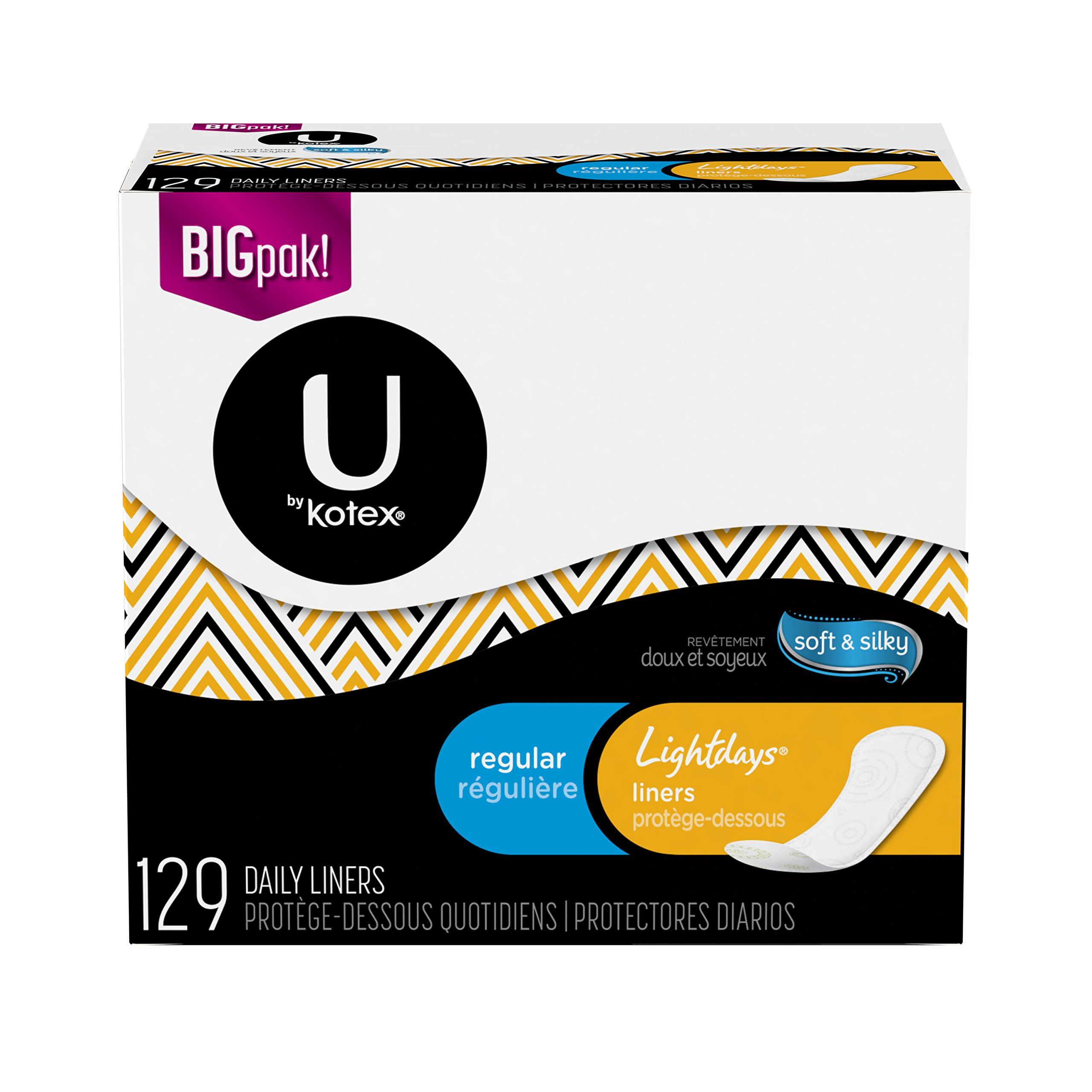 U by Kotex Lightdays Liners, Thin, Regular, Unscented (Pack of 6)