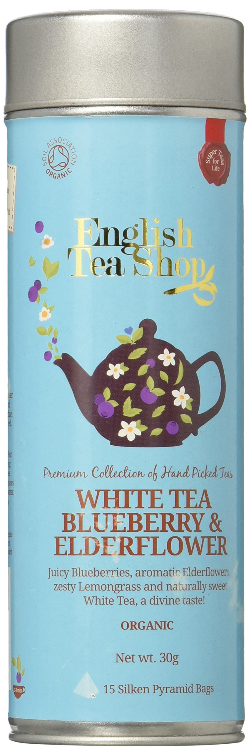 English Tea Shop White Tea Blueberry and Elderflower Jeff Can Super Soilon Pyramid, 30 Gram