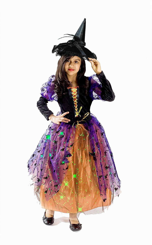 Halloween Costumes For Girls.Monika Fashion World Witch Halloween Costume Girls Light Up S 4 6 Years