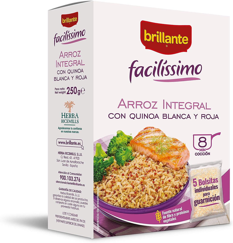 Brillante Facilissimo Arroz Integral con Quinoa Blanca y Roja, 5 Bolsitas x 50g