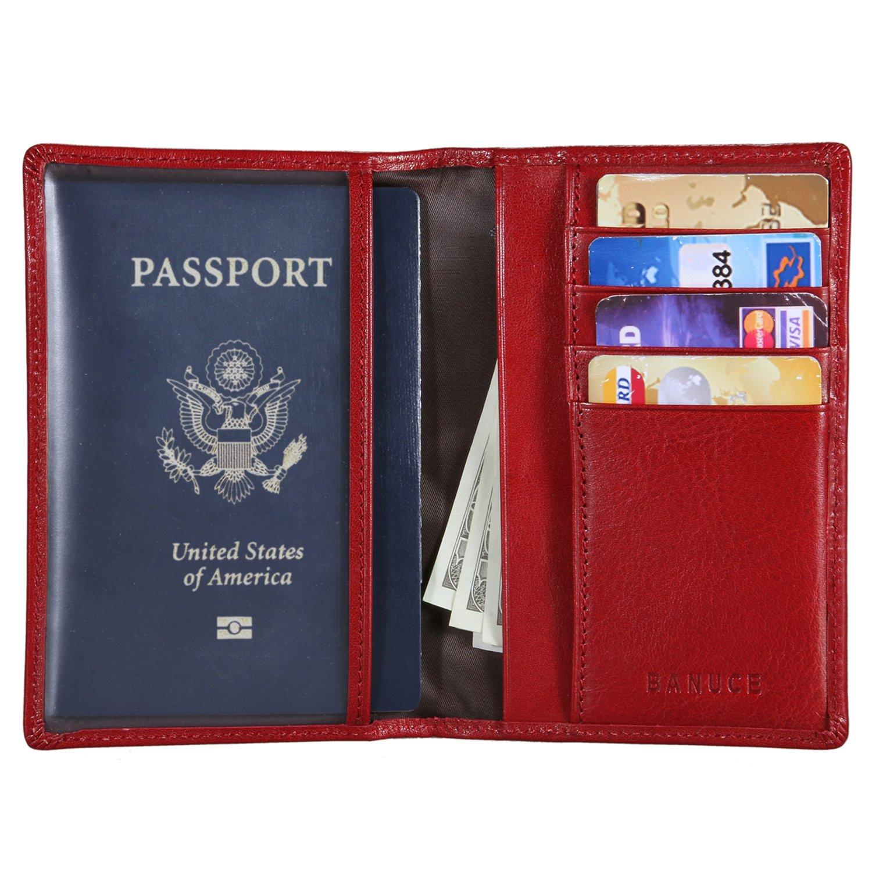 Banuce Italian Leather Passport Holder for Men Women Travel Passport Wallet Cover