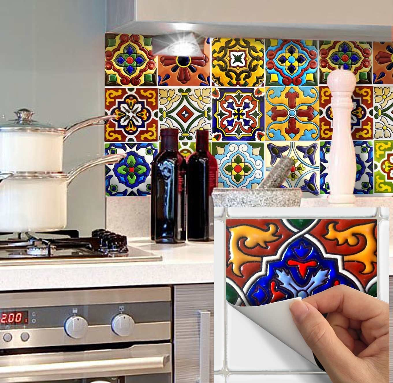 SnazzyDecal Tile Stickers Mexican Spanish 40pc 4-1/4in Peel and Stick for Kitchen and Bath Tr001-4Q by SnazzyDecal (Image #3)