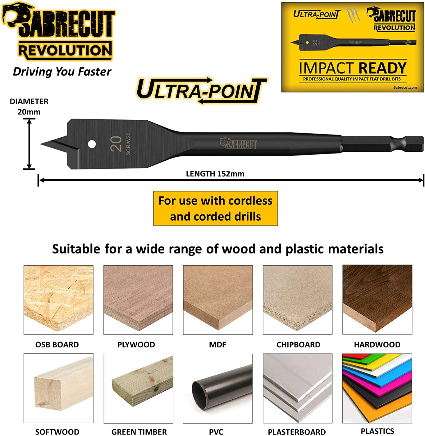 5 x SabreCut SCRIW20/_5 20mm x 152mm Impact Rated Flat Wood Spade Bits for Bosch Dewalt Makita Milwaukee and Many Others
