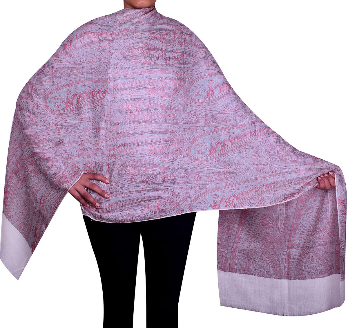 Women's Gift Paisley Wool Shawl Wrap India Clothing (80 x 40 inches) Maple Clothing shwl441813a