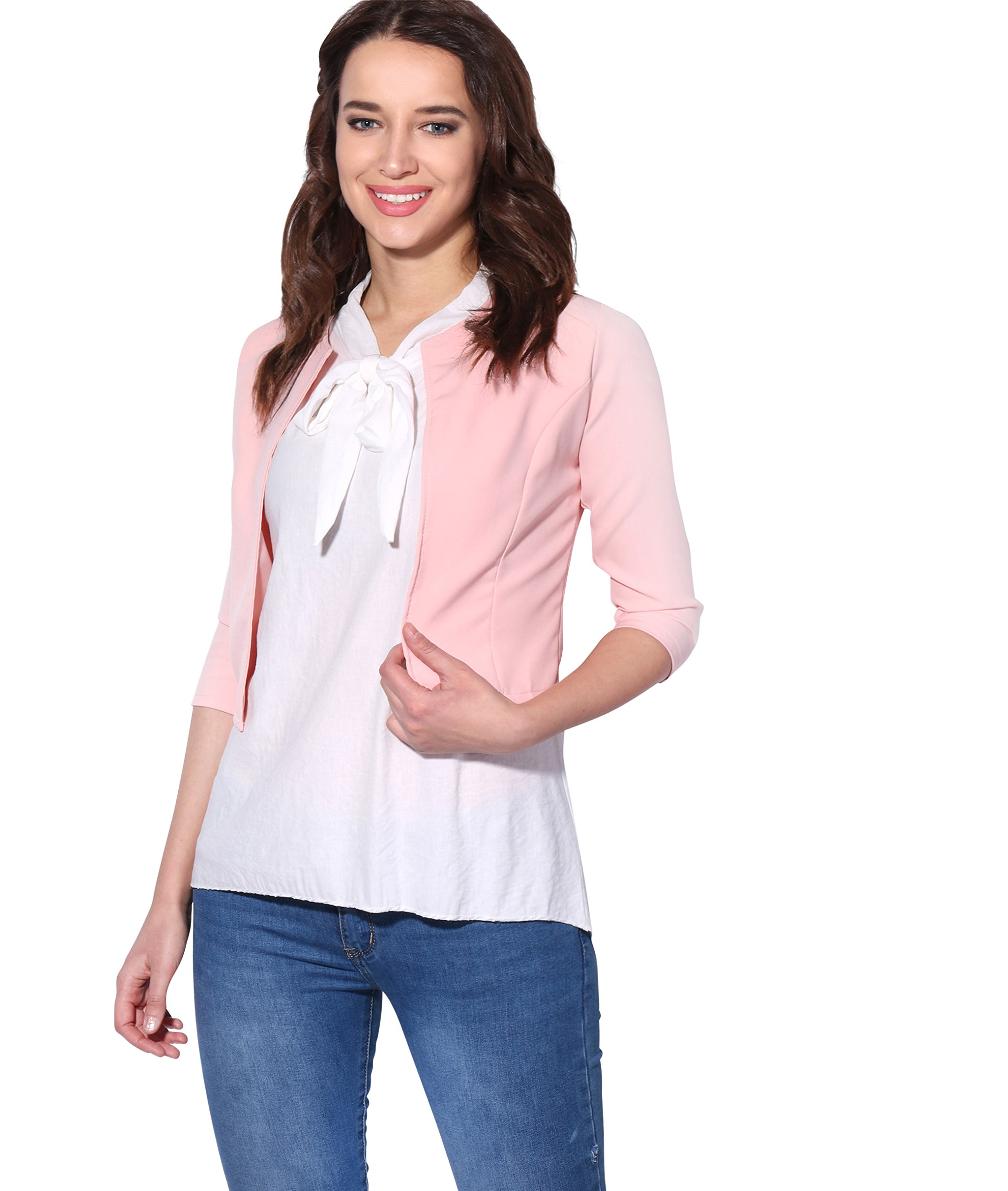 KRISP 3/4 Sleeve Party Shrug(Pink, Small),[5026-PNK-S]