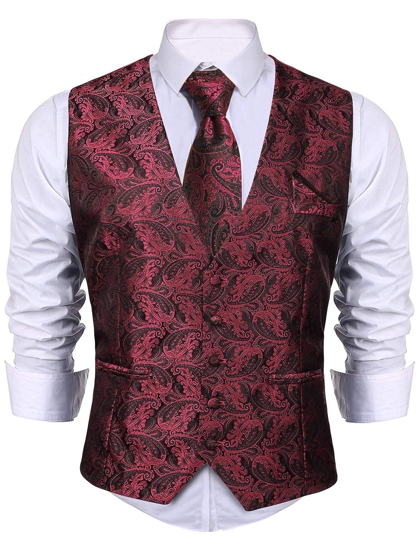 iClosam Herren Anzugweste /& Krawatte /& Taschent/ücher 3 St/ück Slim Fit Westen Set F/ür Anzug Business Hochzeit.