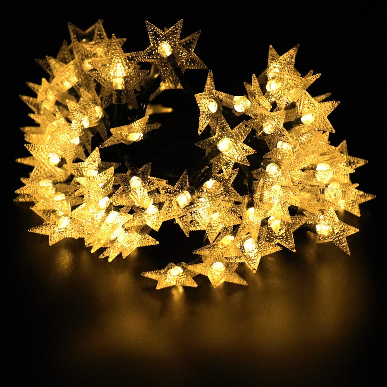 Winboom 100 Led 39.4FT Solar Christmas Lights Outdoor Waterproof 8 Modes Star Solar String Lights,Solar Powered Fairy Light for Outside Garden Tree