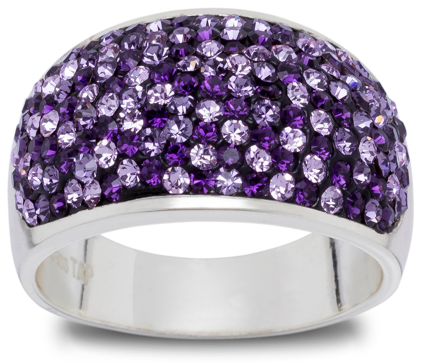 Carly Creations Fine Silver Plate Crystal Band Ring - Purple Size7