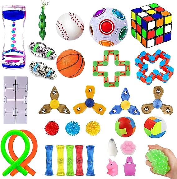 Juego De Juguetes Sensoriales Fidget Toys Set Ni/ños Alivia El Estr/ésTDAH Adicci/ón Y La Ansiedad Fidget Toy Para Adultos 32 Piezas Sensory Fidget Stress Relief Toys Pack Set Paquete De Juguetes