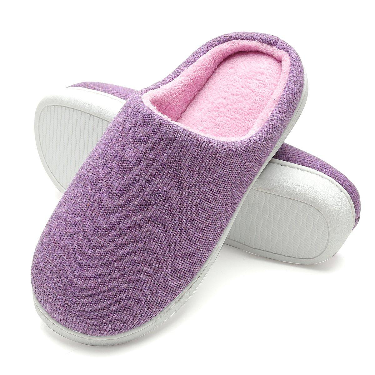 25a4b7e4370 FLY HAWK Women s Memory Foam Plush House Slippers Two-Tone Slip On Indoor Outdoor  Shoes CAMJL07034 women