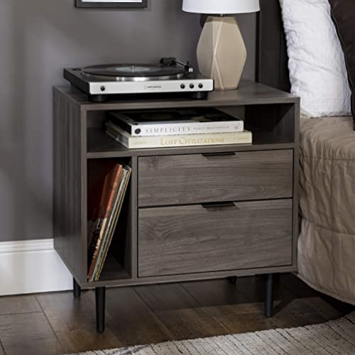 Walker Edison Modern Wood Nightstand Side Bedroom Storage Drawer and Shelf Bedside End Table