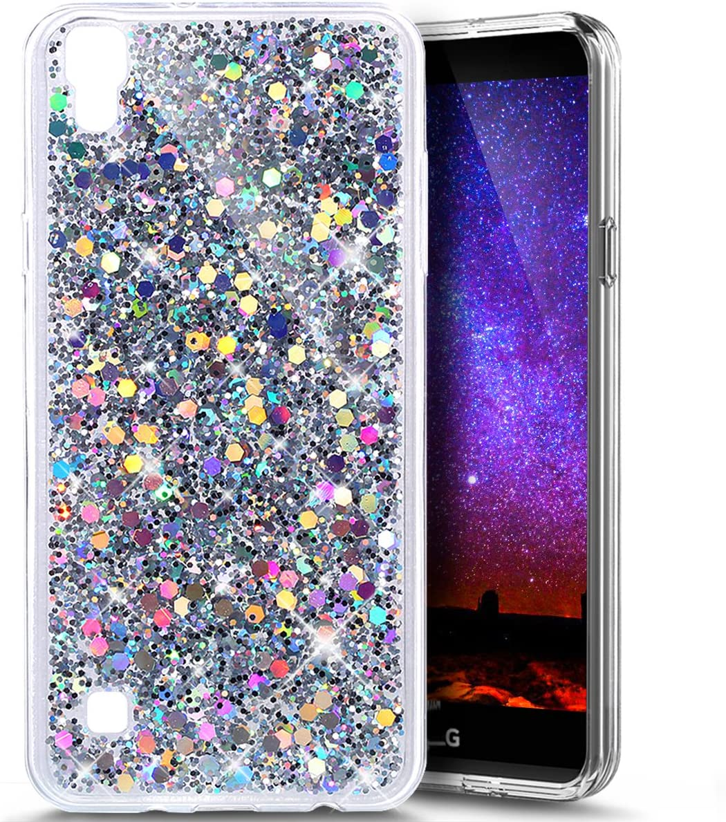 LG Tribute HD Case, LG X Style Case, LG Volt 3 Case,LG L53B/L56VL Case,PHEZEN Shiny Sparkling Hexagonal Star Flexible Soft Rubber Gel Clear TPU Cases Silicone Back Case (Silver)