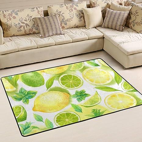 Amazon Com Woor Grapefruit Leaf Living Room Dining Area Rugs 3 X 2