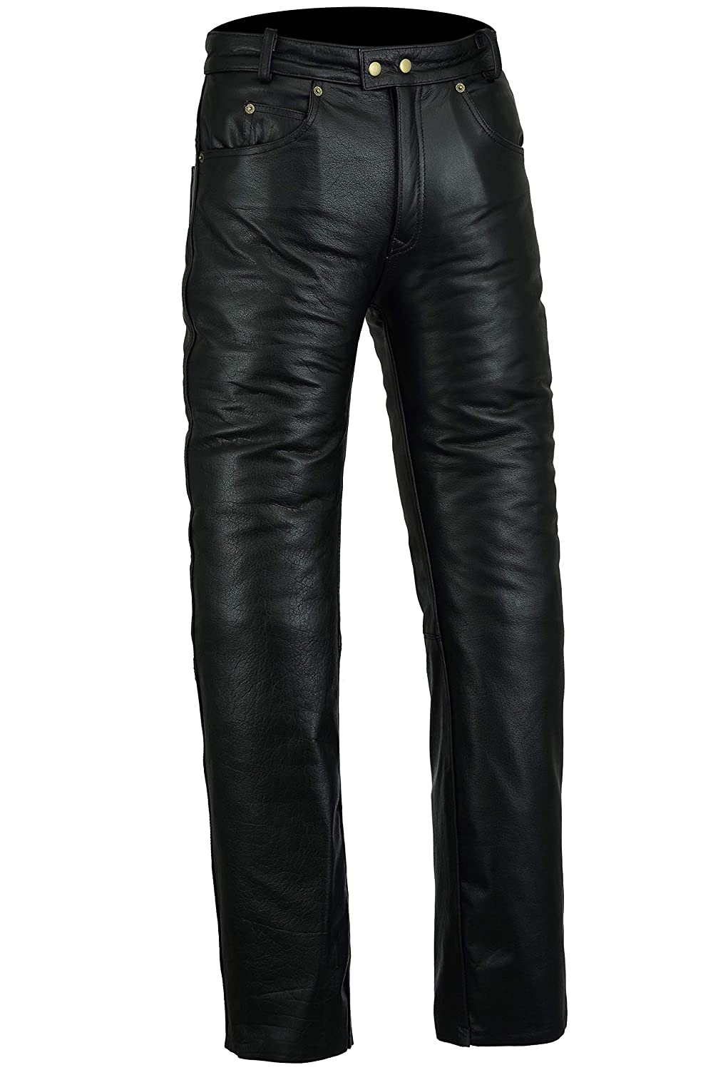 Bikers Gear Australia New Mens Soft Leather Rock and Roll Motorcycle Comfort Leather Jeans Trousers made from Premium Leather for Comfort Fit Size 2XL Black