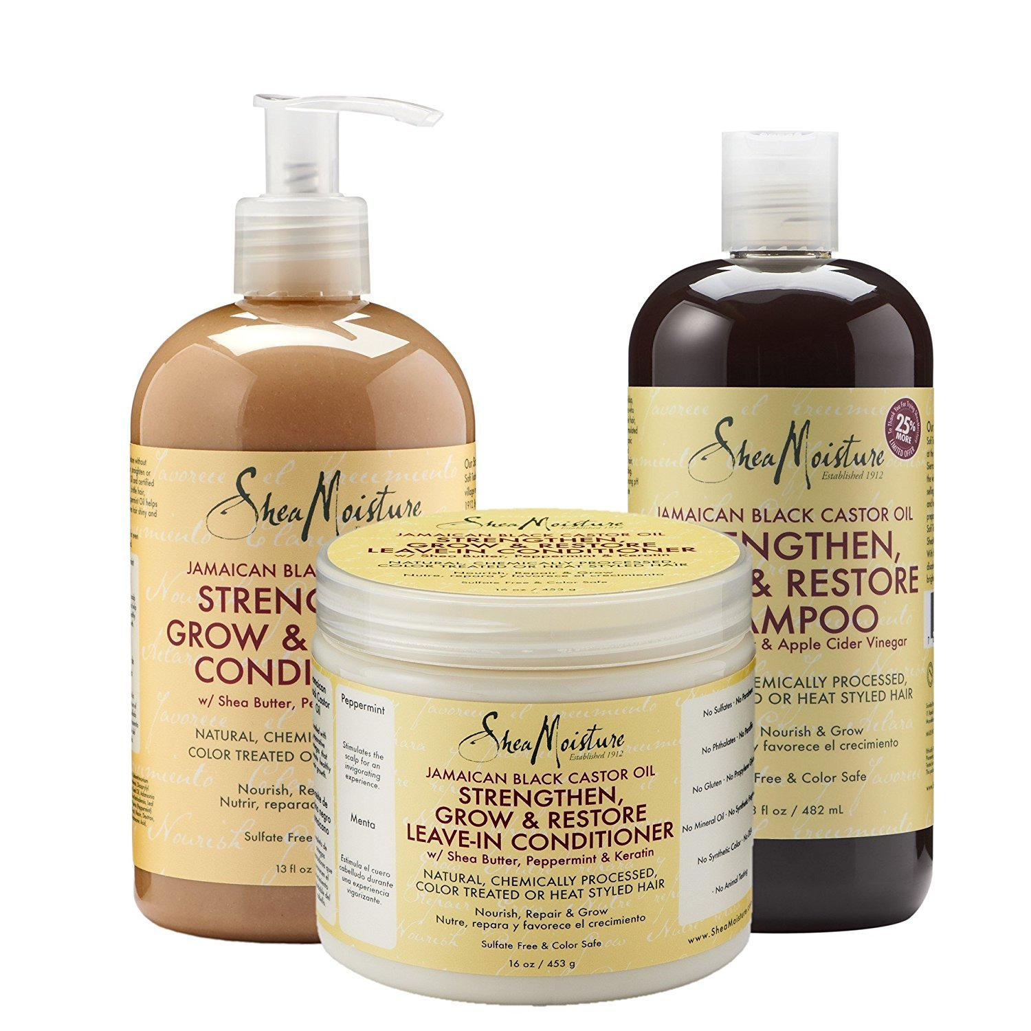 Shea Moisture Jamaican Black Castor Oil Combination Pack – Strengthen, Grow & Restore System – 16.3 oz Shampoo, 13 oz. Conditioner & 16 oz. Leave-In Conditioner