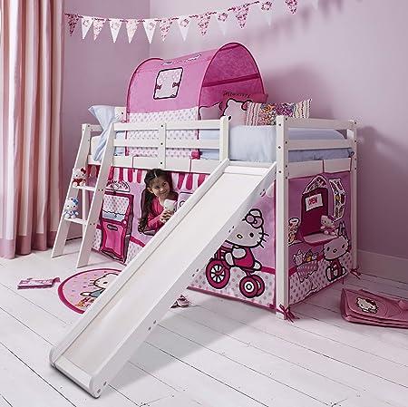 Letti Per Bambini Hello Kitty.Noa And Nani Hello Kitty Letto A Castello Con Tenda E Scivolo In