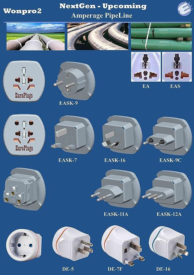 Paquete de 3, Wonpro2 Calidad Industrial, Adaptador UE con persianas de Seguridad EAS-9C Blanco (Actualizado NextGen WA-9C): Amazon.es: Electrónica