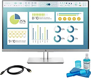 HP EliteDisplay E273 27 Inch FHD (1920 x 1080) LED Backlit IPS Monitor (1FH50A8#ABA) Bundle with HDMI Port, VGA Port, DisplayPort, 6-feet HDMI Cable and LCD Cleaning Kit