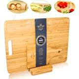 Ecozoi EXTRA LARGE Bamboo Cutting Board Set, 3 Piece: Chopping Board Butcher Block for Meats, Cheese and Vegetables with 3 Compartments and Juice Groove, Pizza Serving Board, and Carving board Holder