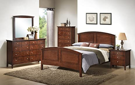 Roundhill Furniture Cheffes Wood Bedroom Set Includes Queen Bed, Dresser  Mirror With Nightstand, Cherry