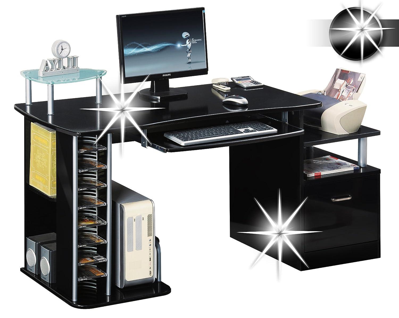 SixBros. Computer Desk S 202A/736 High Gloss Black / Frame MDF Black:  Amazon.co.uk: Kitchen U0026 Home