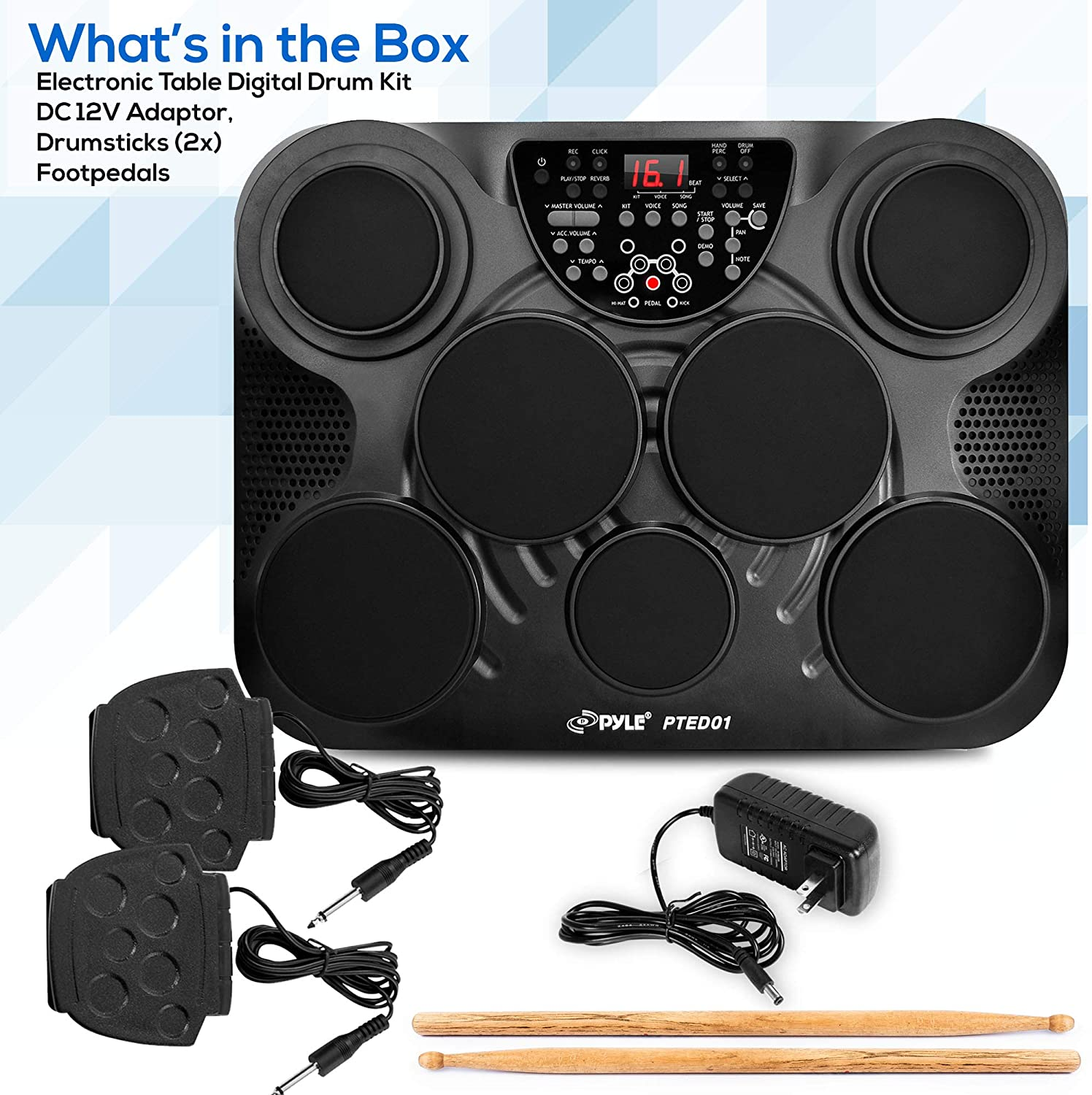Pyle Portable Drums, Tabletop Drum Set, 7 Pad Digital Drum Kit, Touch...