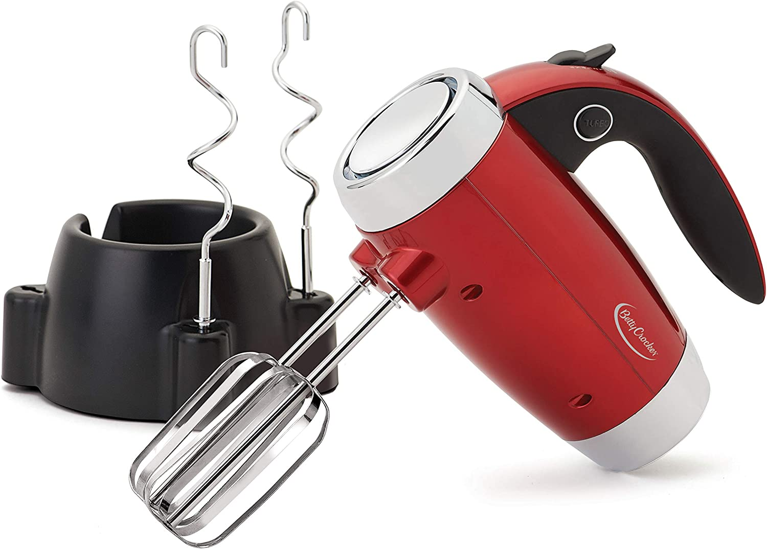 Betty Crocker 7 Speed Hand Mixer with Stand with Chrome Beater and Hooks, Metallic Red