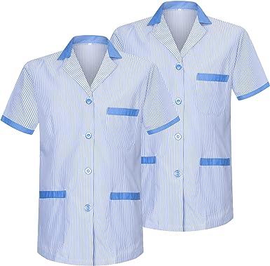 MISEMIYA - Pack*2-Camisa Camisetas Mujer Medica Mangas Cortas Uniforme Laboral Sanitarios Hospital Limpieza Ref.T820