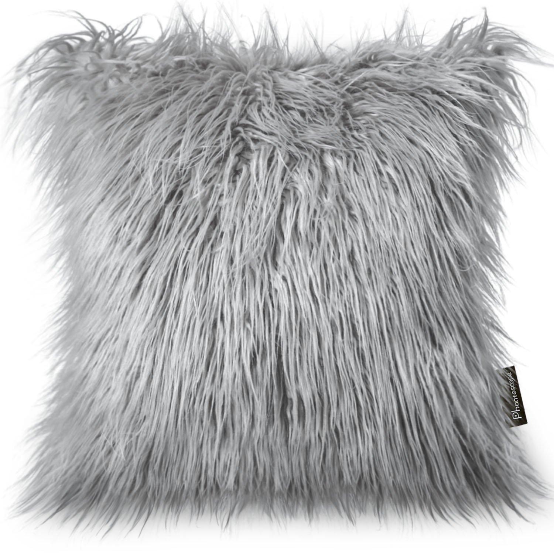 PHANTOSCOPE Decorative New Luxury Series Merino Style Grey Fur Throw Pillow Case Cushion Cover 18'' x 18'' 45cm x 45cm