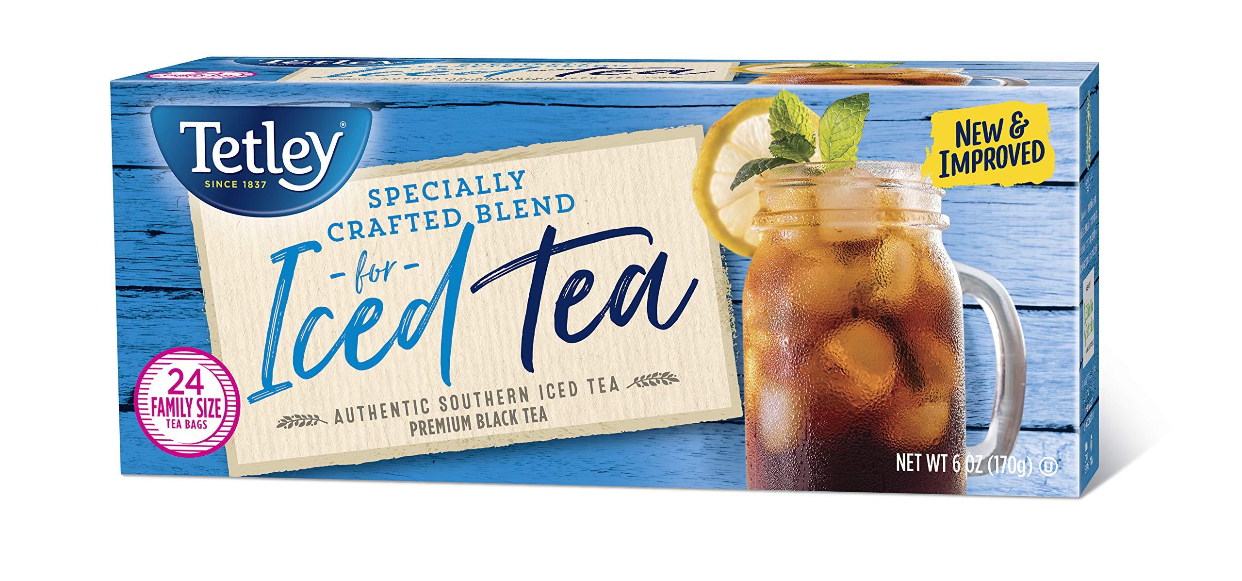 Tetley Black Tea, Iced Tea Blend, Family Size, 24 Round Tea Bags (Pack of 6) by Tetley