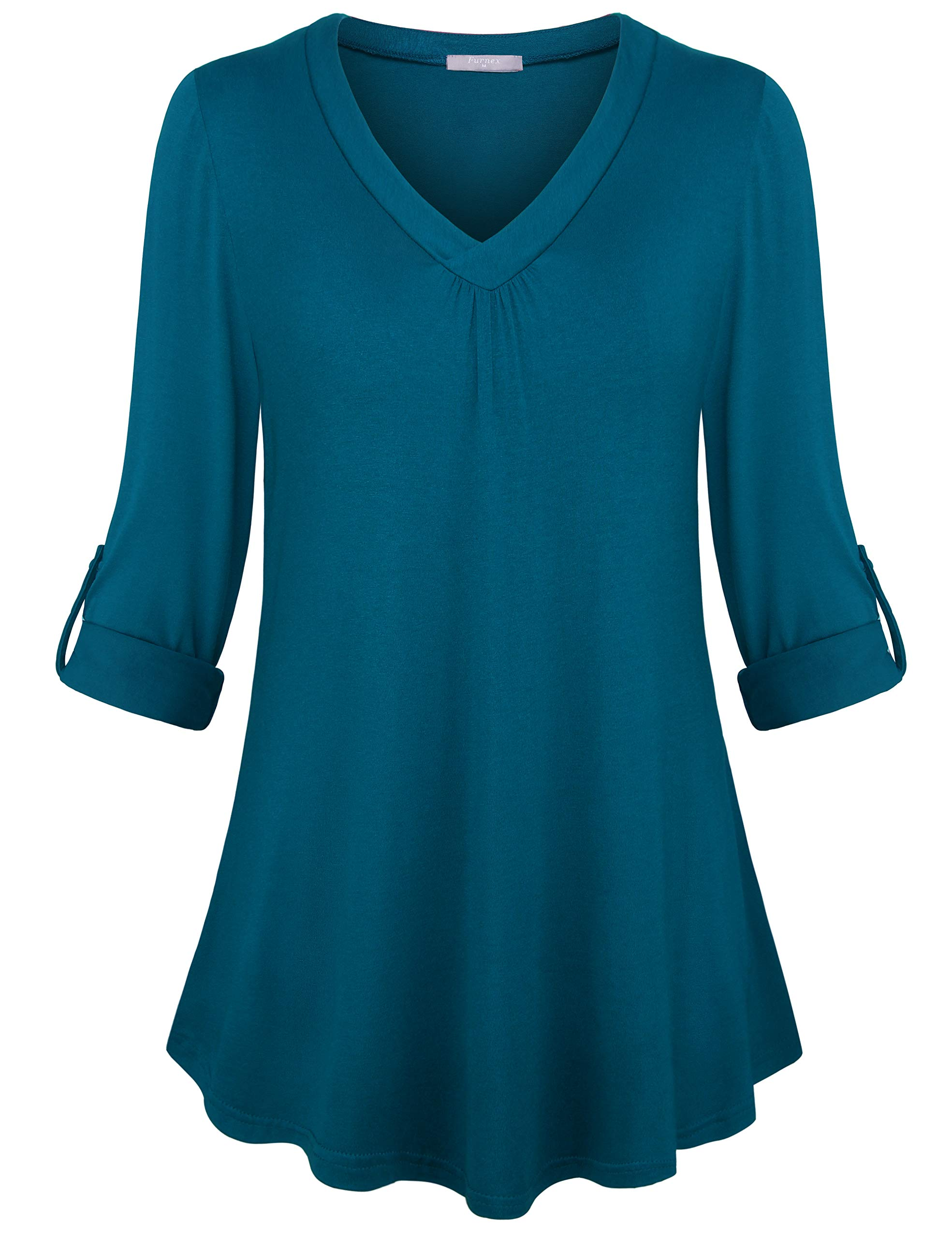 Furnex V Neck Tunic Tops for Women, Tunic Tops 3/4 Sleeve Casual Lightweight Shirt Loose Comfy Fit Stretchy Blouse Top for Legging Deep Cyan Medium