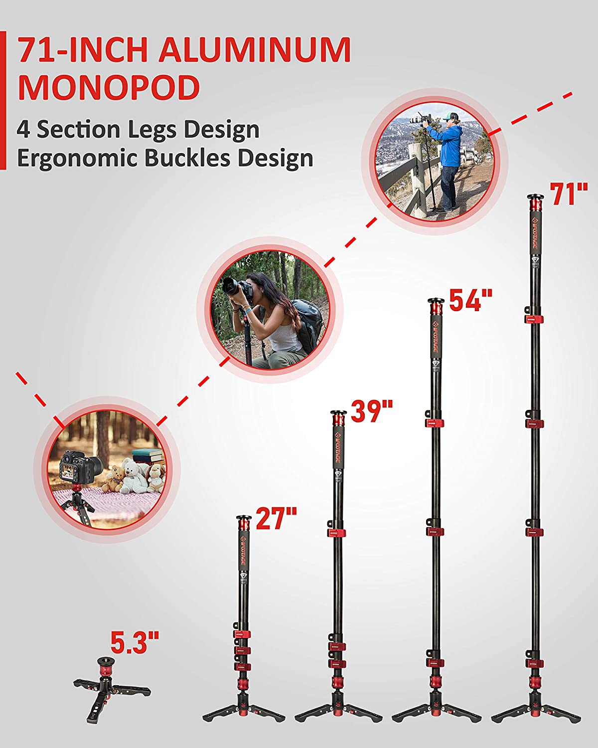 IFOOTAGE Video Monopod Professional 71 Aluminum Telescopic Monopods with Folding Three Feet Support Base Compatible for DSLR Camcorders