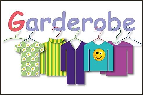 Garderobe schild  Kindergarten Schild -831t- Garderobe 29,5cm * 20cm * 2mm, mit 4 ...