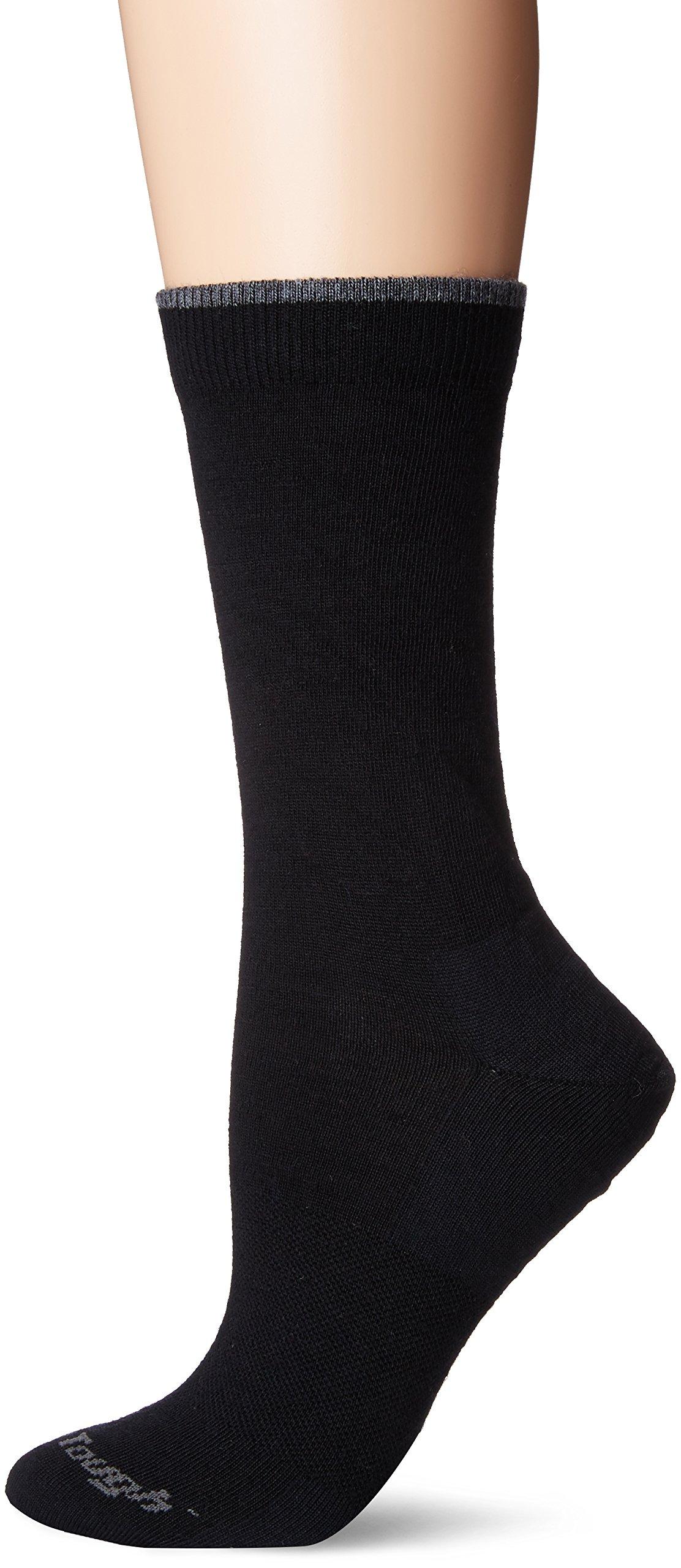 Darn Tough Vermont Women's Solid Crew Light Cushion Hiking Socks, Black, Medium (7.5-9.5)
