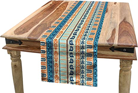 Amazon Com Ambesonne Tibal Table Runner Vintage Pattern With Folk Artisan Art Dining Room Kitchen Rectangular Runner 16 X 120 Merigold Blue Home Kitchen