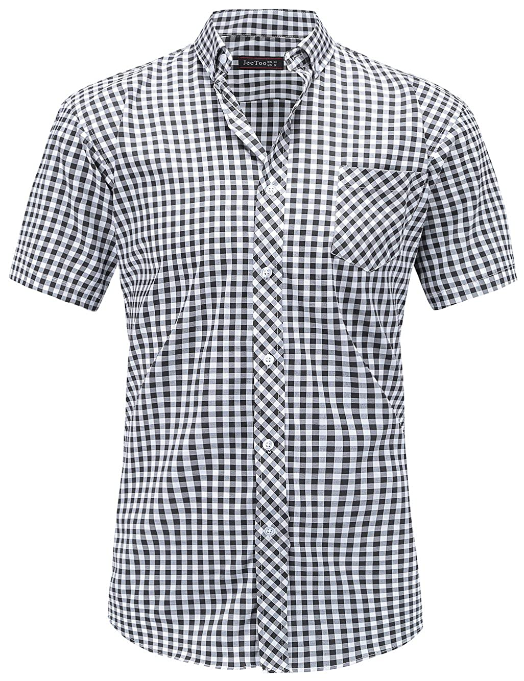 JEETOO Camisa Casual a Cuadros Manga Corta para Hombre