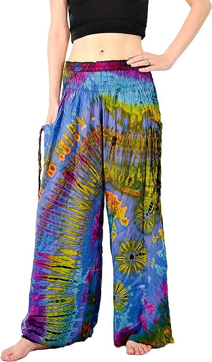 Orient Trail teñida en frío de la mujer Tie-Dye ancho pierna Palazzo Pantalones de Yoga tamaño 6 – 22