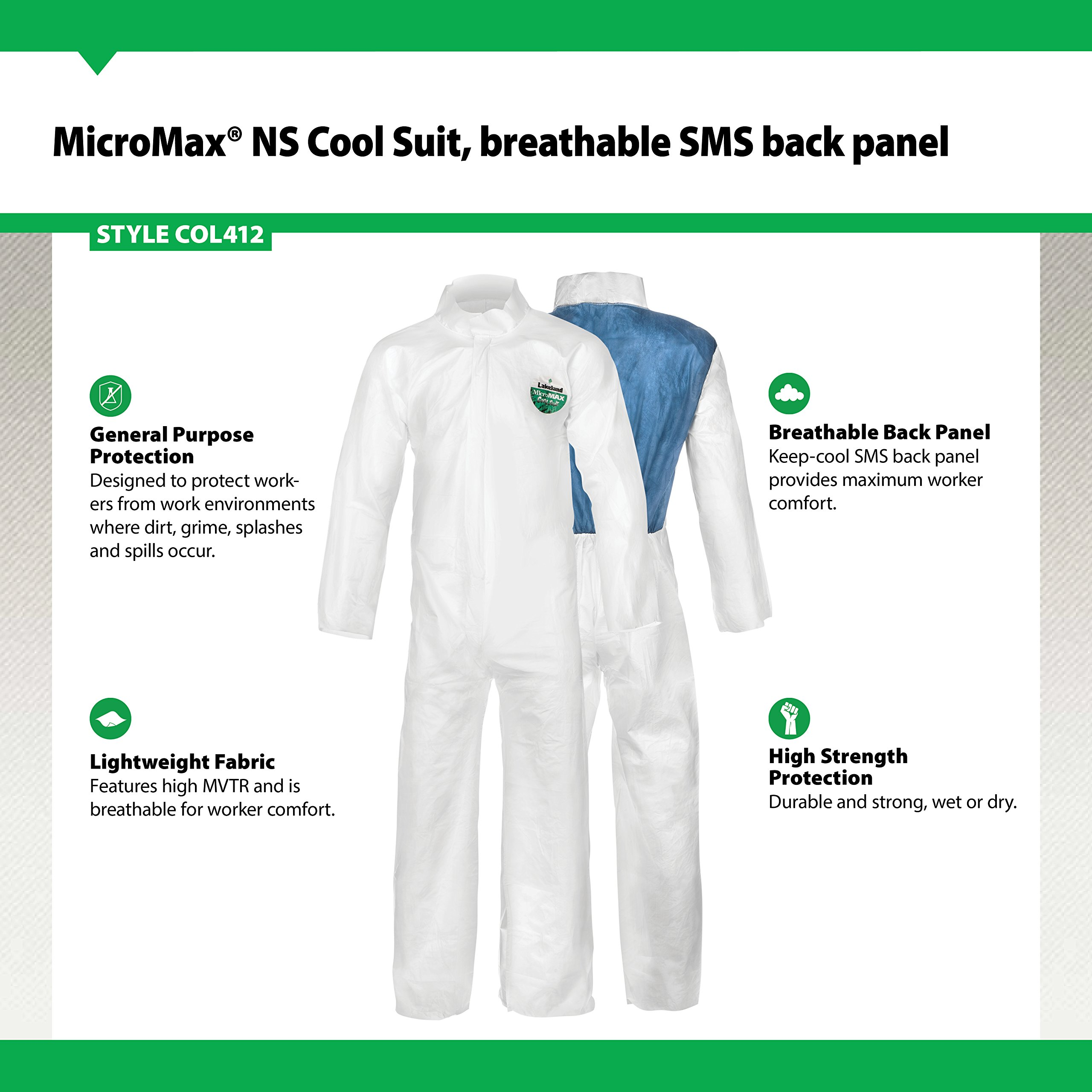 Lakeland MicroMax NS Cool Suit Microporous Coverall, Open Cuff, X-Large, White (Case of 25) by Lakeland Industries Inc (Image #2)