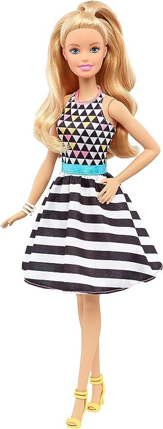 Amazon.es: Barbie - Fashionista, muñeca con Vestido de Rayas ...