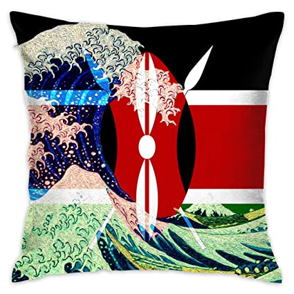 Amazon Com Akacu Kenya Flag And Wave Off Kanagawa Square Throw