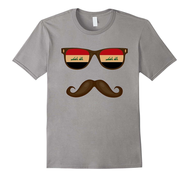 Iraqi Flag Sunglasses Moustaches T-shirt Iraq Shirt-PL
